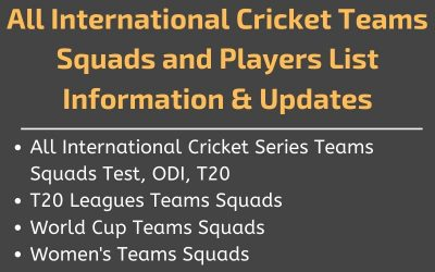 Cricket Teams Squads, Players List 2020