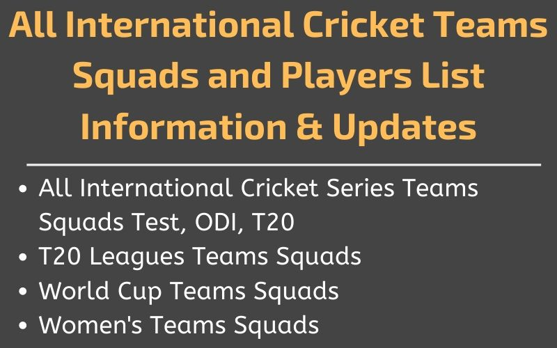 Cricket Teams Squads Players List 2020
