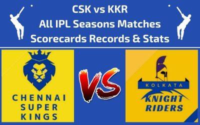 CSK vs KKR Head to Head Scorecards and Records of All IPL Seasons