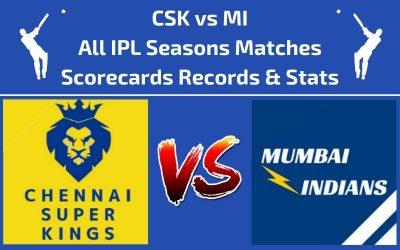 CSK vs MI Head to Head Scorecards and Records of All IPL Seasons