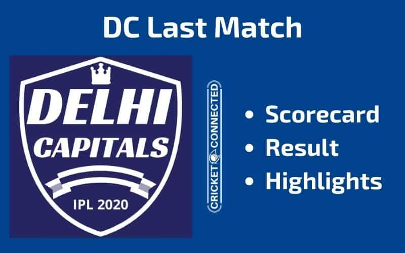 IPL 2020 DC Last Match Scorecard Result Highlights