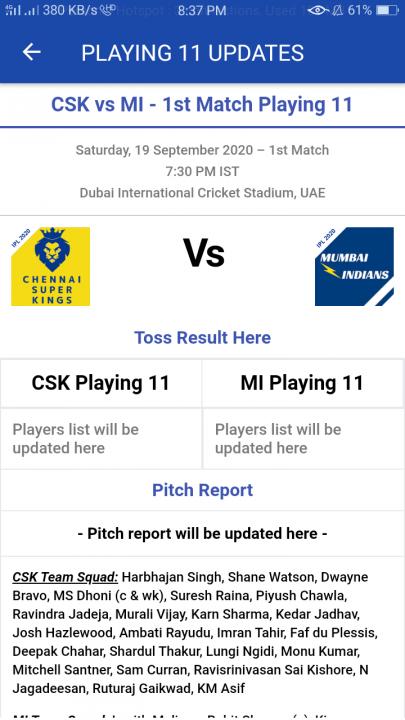 ipl 2020 live match playing 11 updates