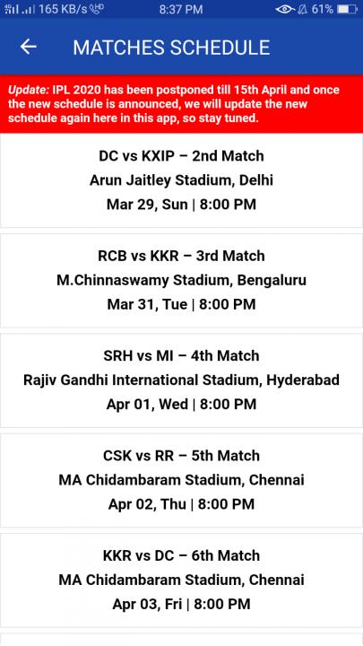 ipl 2020 next upcoming matches list feature