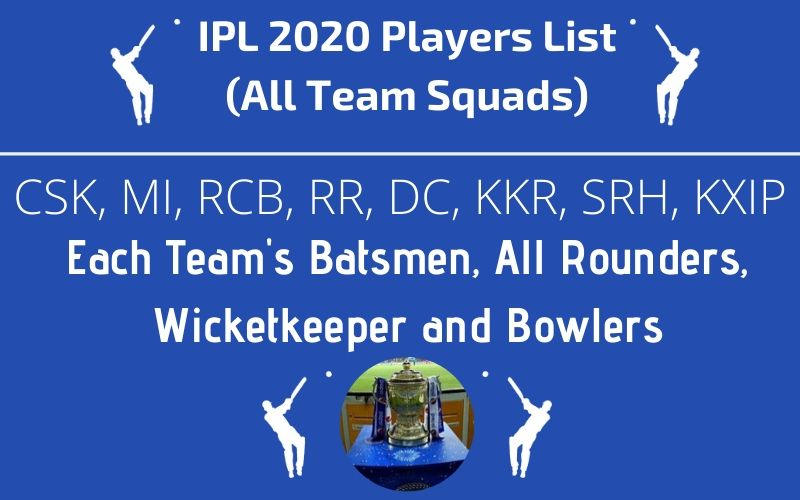 IPL 2020 Players List Teams Squads
