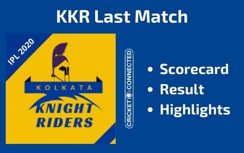 IPL 2020 KKR Last Match Scorecard Result Highlights
