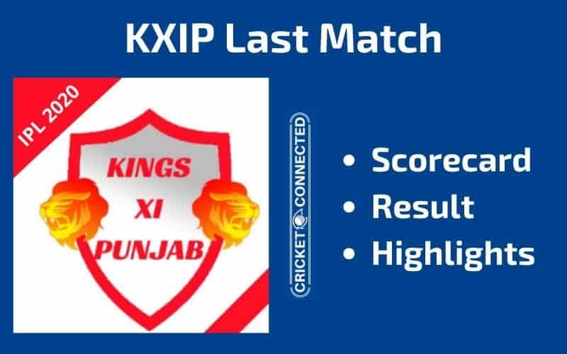 IPL 2020 KXIP Last Match Scorecard Result Highlights