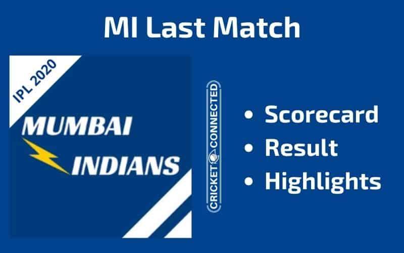 IPL 2020 MI Last Match Scorecard Result Highlights