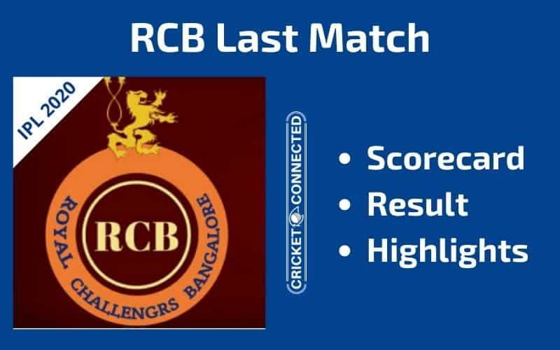 IPL 2020 RCB Last Match Scorecard Result Highlights
